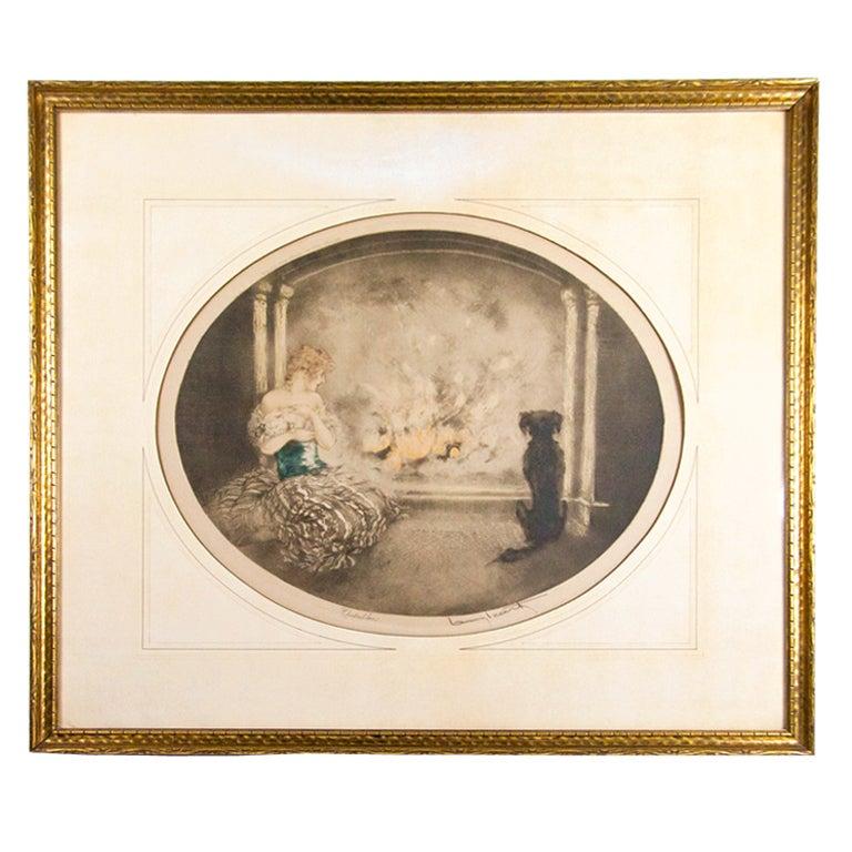 Estate Original Louis Icart Titled Cendrillon Hand Signed Etching Estate Find For Sale