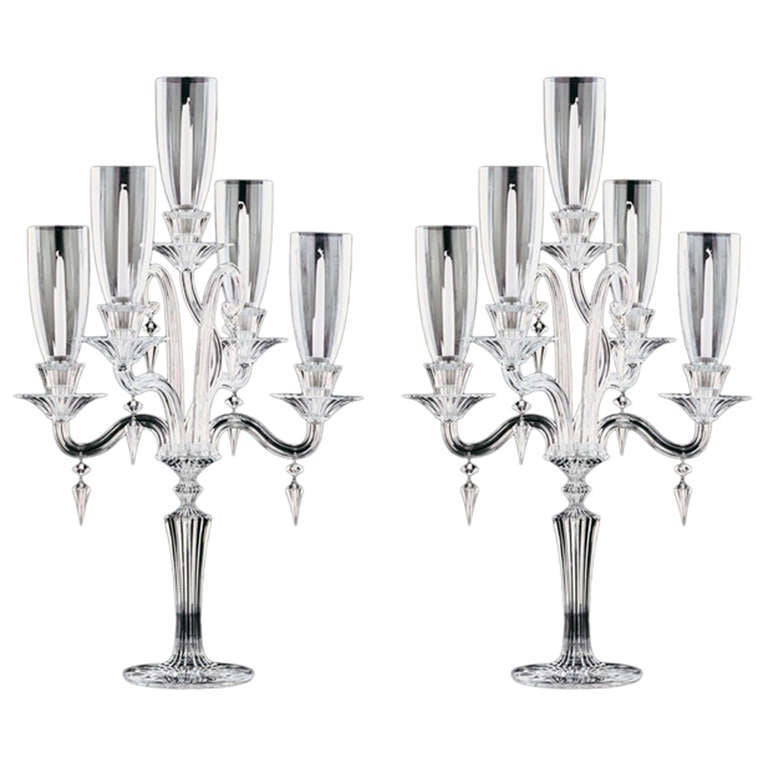 Baccarat Crystal Mille Nuits Five Light Candelabra with Shades For ...