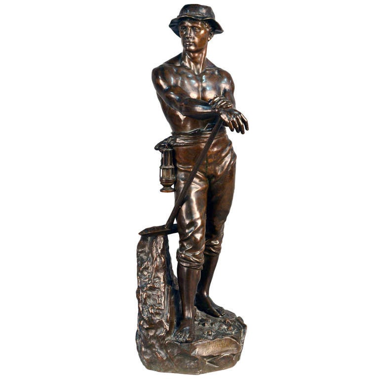 Bronze Sculpture Le Mineur By Charles Levy For Sale