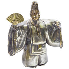 Japanese Classical Kabuki Theater Character Silvered Bronze Sculpture