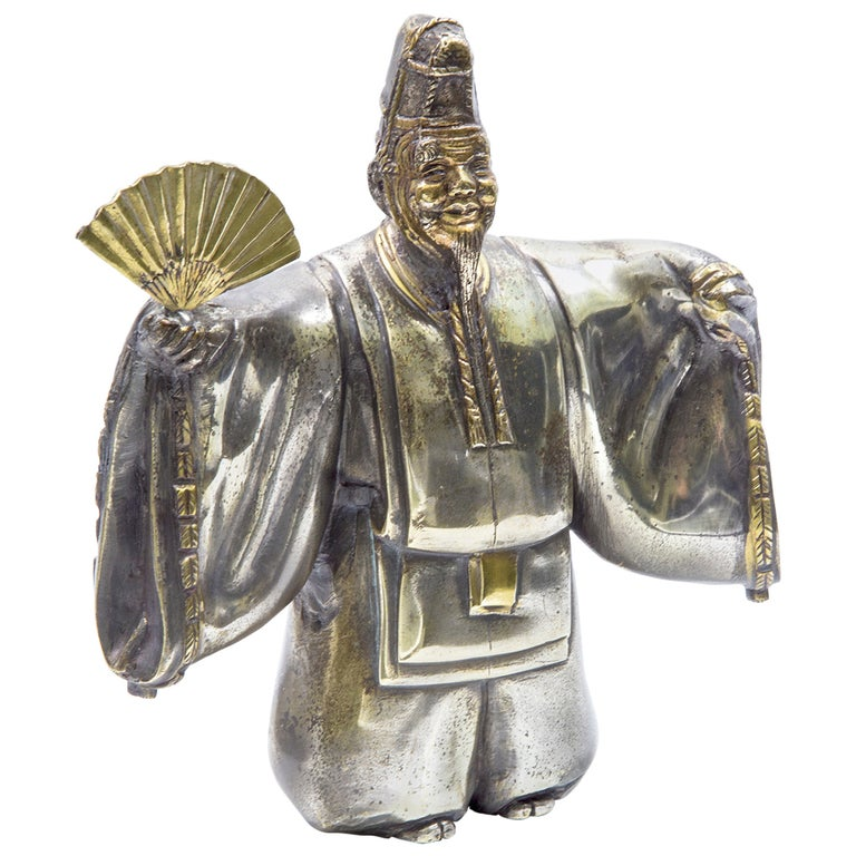 Japanese Classical Kabuki Theater Character Silvered Bronze Sculpture Estate  For Sale