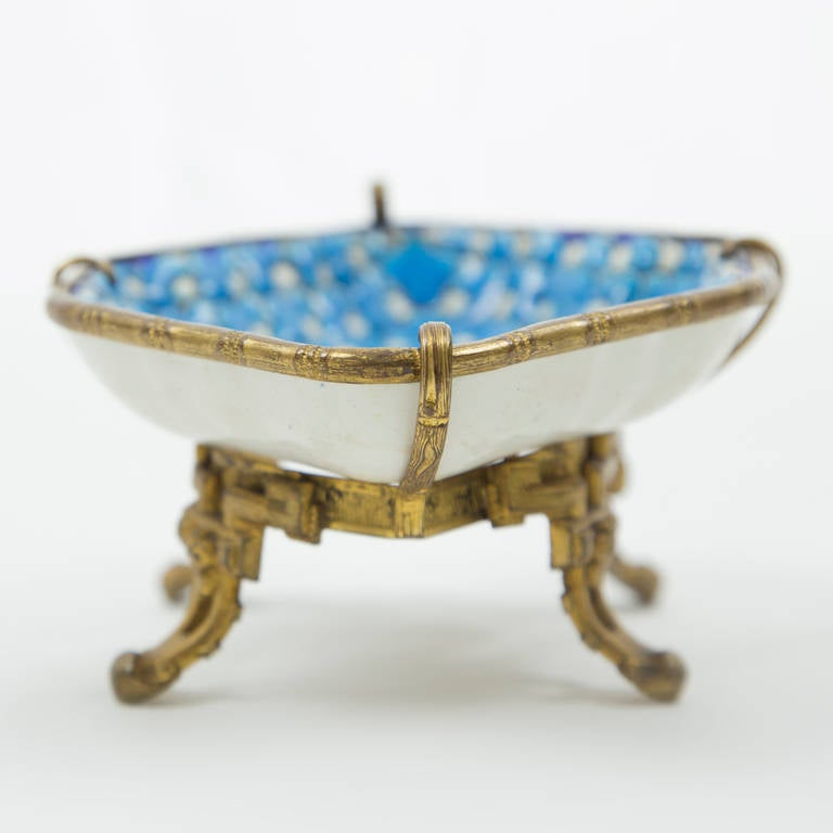 Cloisonn faience pin tray on ormolu stand france for for Cloison stand