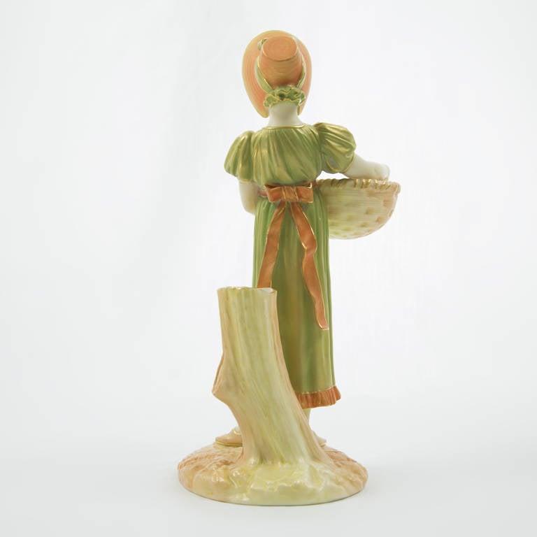 Rare Antique Royal Worcester Porcelain Young Girl Figurine