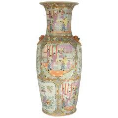 Impressive Mid-Century Modern Chinese Canton Rose Mandarin style Vase Estate