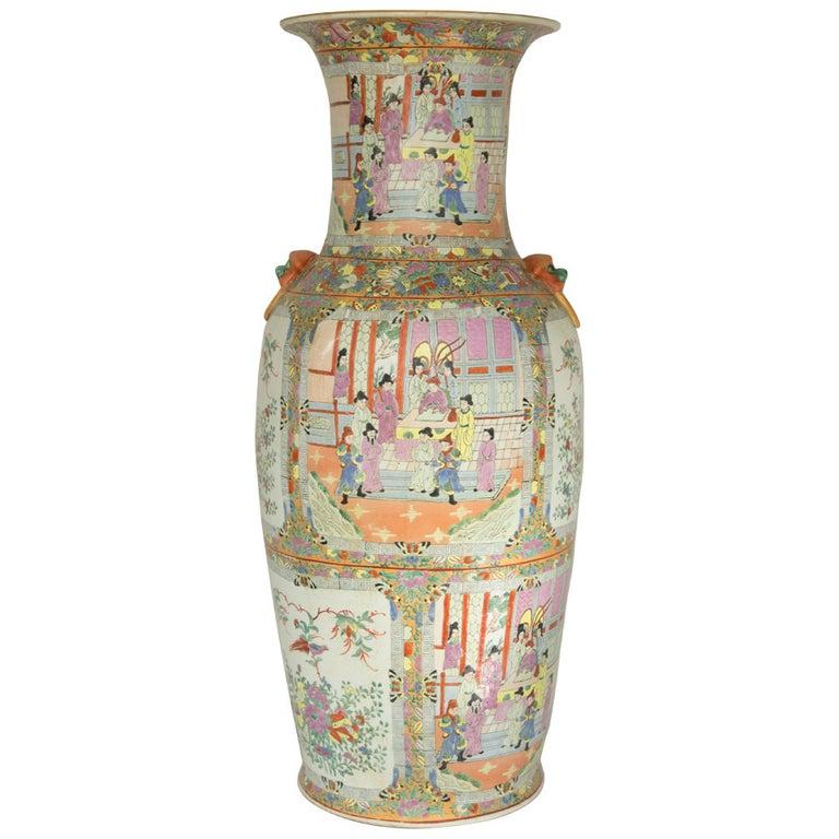 Impressive Mid-Century Modern Chinese Canton Rose Mandarin style Vase Estate For Sale