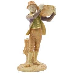 Rare Antique Royal Worcester Heirloom Porcelain Young Man Figurine, circa 1900