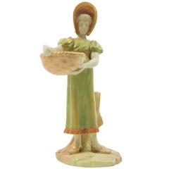 Rare Estate Antique Royal Worcester Heirloom Porcelain Young Girl Figurine