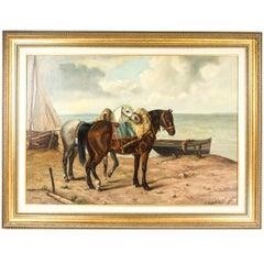 C. Van de Velde Horse Painting Oil on Canvas, circa 1908
