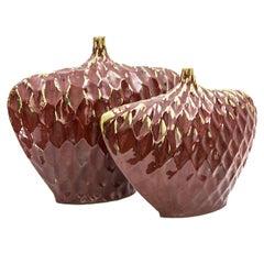 Large Modernist Art Pottery Stoneware Drip Glazed Vase Vessels