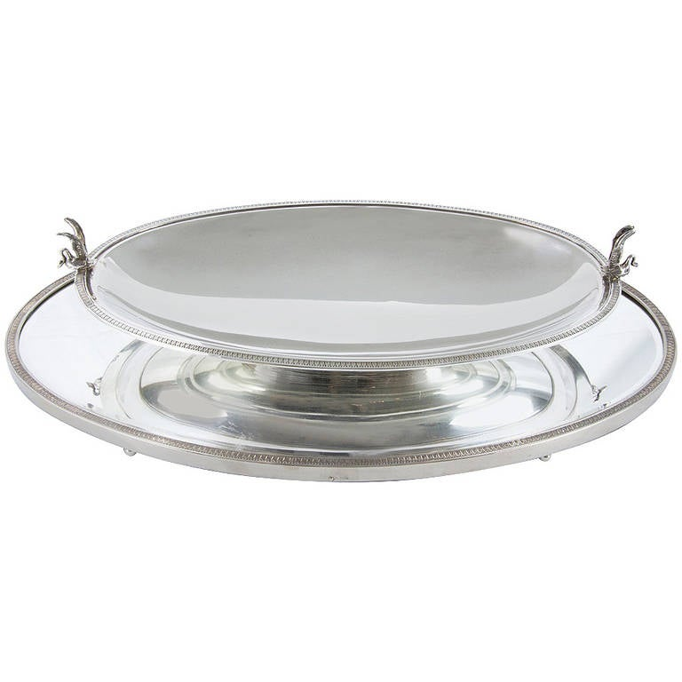 Edwardian Sterling Silver Mirrored Plateau and Bowl Center Piece For Sale