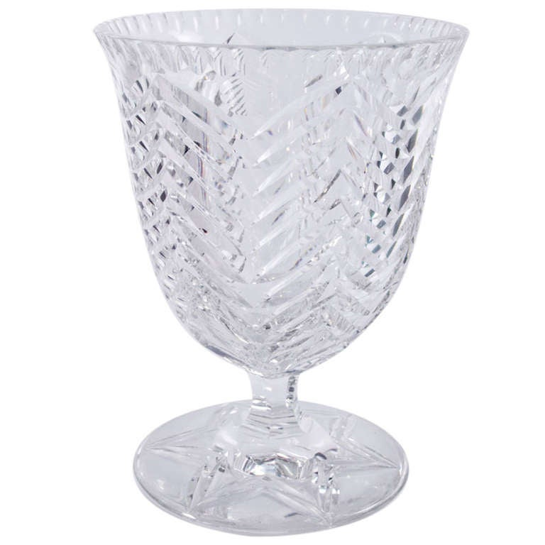 Mid Century Modern Val St Lambert Cut Crystal Footed Coupe Vase