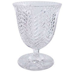 1960s Cut Crystal Footed Coupe Vase by Val Saint Lambert