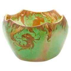 Art Nouveau Art Glass Dragon Petit Cache Pot