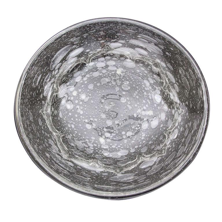 Signed Schneider Large Bubble Glass Centerpiece Bowl, circa 1950s