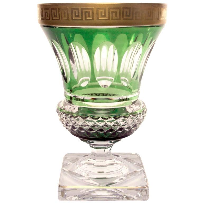 Art Deco Val St. Lambert Grecian Key Footed Crystal Vase
