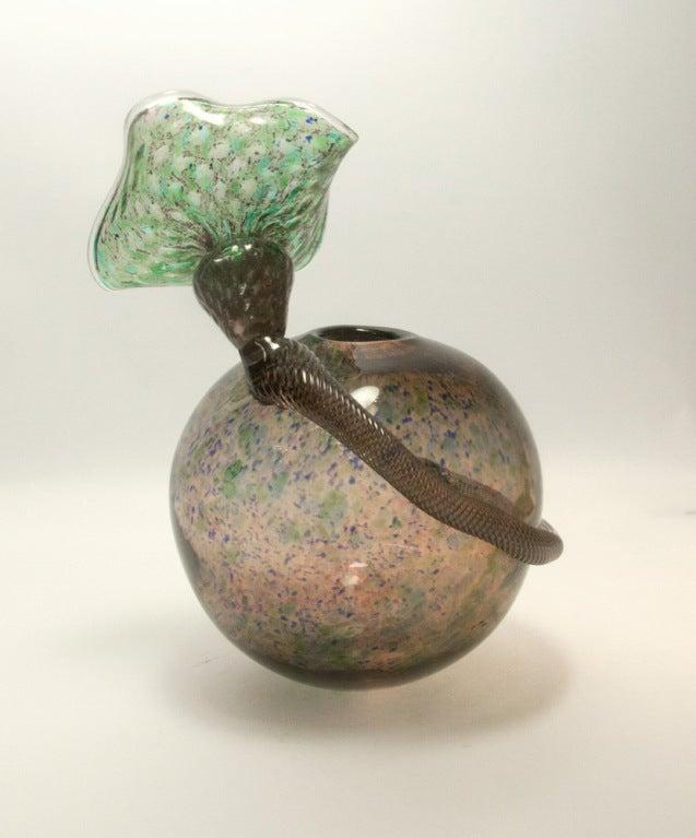 Modern Rare Signed Handblown Art Glass Vase Richard Price For Sale