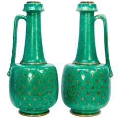 Art Deco Pair of Ceramic and Silver Pitchers Gustavsberg Argenta, Sweden