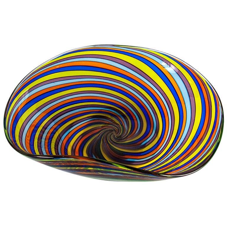 Mid Century Modern Large Spiral Swirl Venetian Art Glass Bowl Italy Estate Find