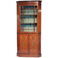 Edwardian Satinwood Bookcase Cabinet