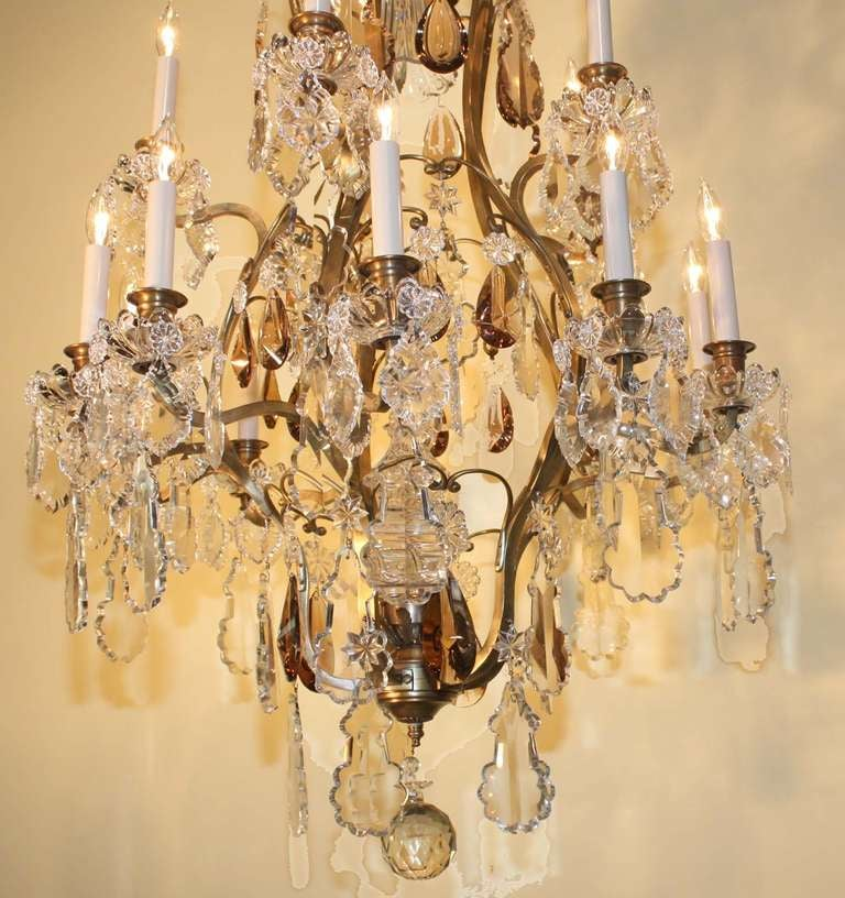 French Louis XV Style Gilt Bronze and Crystal Fifteen-Light Chandelier For Sale