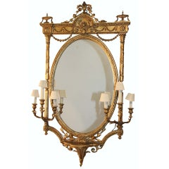 Louis XVI Style Gilt wood Girandole Mirror
