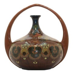 Rozenburg Art Nouveau Basket Handled Earthenware Vase