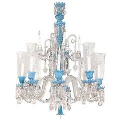Baccarat Opaline Glass and Crystal Twelve-Light Chandelier