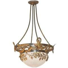 Bronze and Frosted Glass Three LIght Pendant Fixture