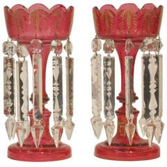 Pair of Ruby Glass Table Lustres