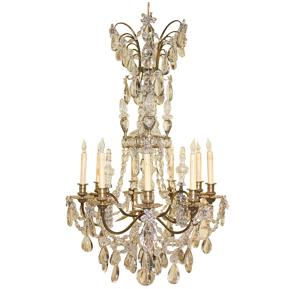 Baguès Louis XVI Style Twelve Light Crystal Chandelier
