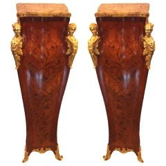 Pair of Louis XV Style Kingwood and Marquetry Pedestals