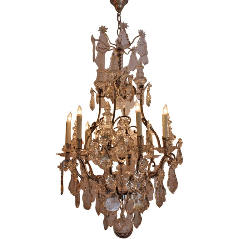 Louis Xv Style Silvered Bronze And Crystal Chandelier At