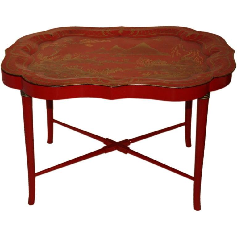 Chinoiserie Lacquered Tole Tray Table