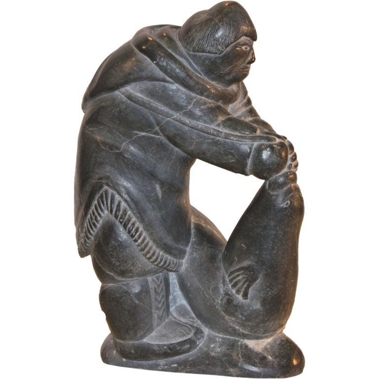 Inuit sculpture of hunter catching seal at stdibs