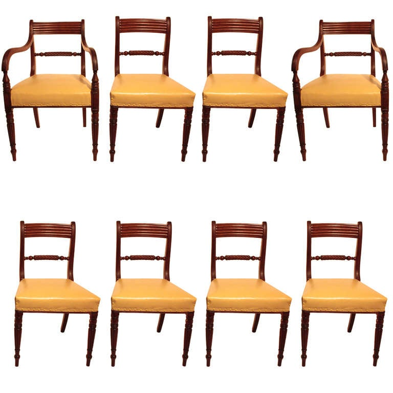 Set Of Eight Regency Mahogany Dining Chairs For Sale At 1stdibs