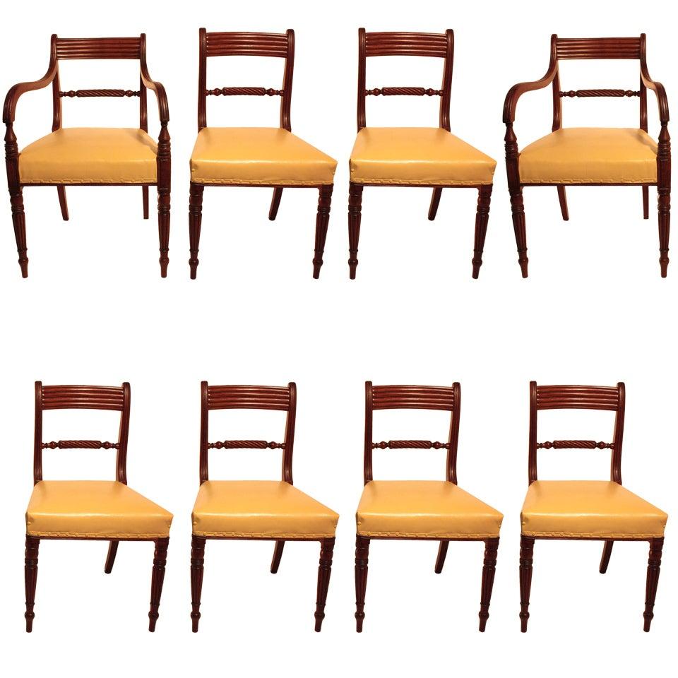 Set of Eight Regency Mahogany Dining Chairs