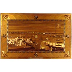 Pair of Marquetry Straw Work  Panels