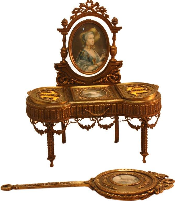 Louis Xvi Style Gilt Bronze Vanity Jewelry Box And Mirror