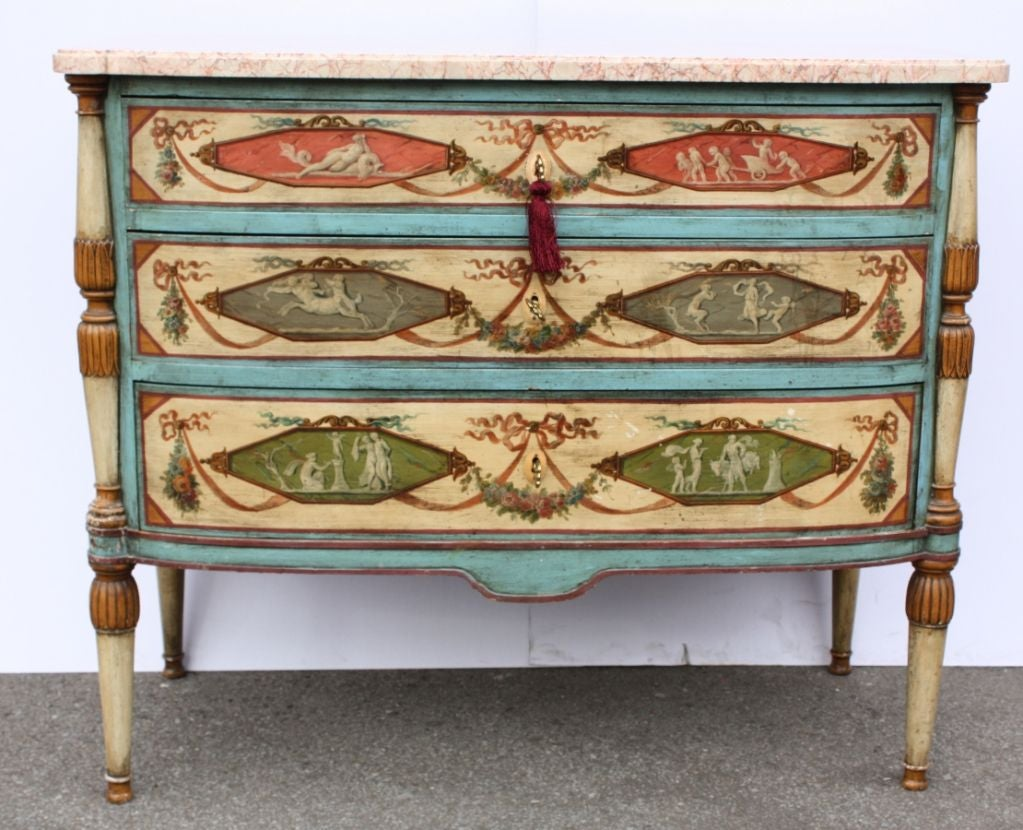 Neo-Classical Polychrome Three-Drawer Marble Top Commode 2