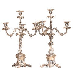 Pair of Victorian Silver Plate Four-Arm Candelabra