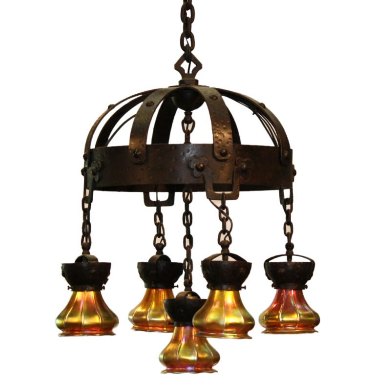 Arts and Crafts Wrought Iron and Steuben Aurene Chandelier