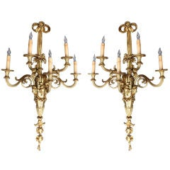 A  Pair of Massive Louis XVI Gilt Bronze Second Empire Five Light Wall Sconces