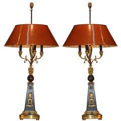 Pair of  French Empire Period  Four Light Bronze Candelabra