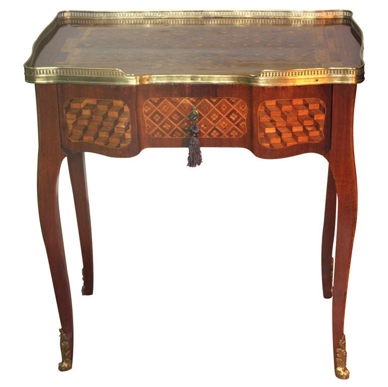 Louis XV Mahogany and Marquetry Dressing Table 1