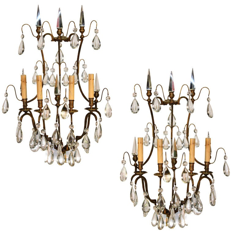 Pair of Louis XV Style Crystal and Gilt Bronze Wall Sconces