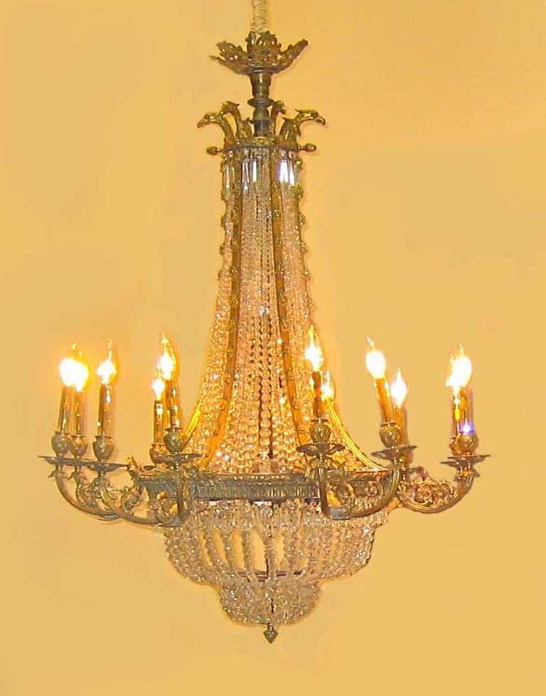 Large Twelve Arm Bronze And Crystal Chandelier For Sale At