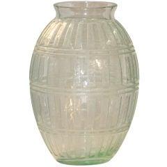 Daum Art Deco Acid Etched Glass Vase