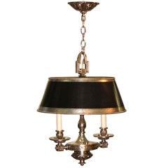 Silvered Bronze Hanging Bouillotte Lamp