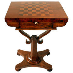 William IV Rosewood Fold-over Chess or Card Table