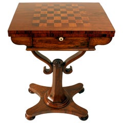 William IV Rosewood Fold-over Chess ond Games Table